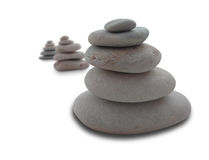 Balancing pebbles isolated on white Stock Image