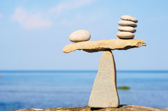 Balancing of pebbles Stock Image