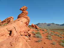 Balancing Rock. Sandstone formation in Valley of Fire State Park, Nevada Stock Photos