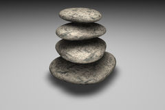 Balancing of rocks. Pile of four 3d rocks Stock Photography