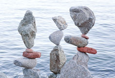 Balancing rocks. In San Francisco in the summer of 2012 stock photography