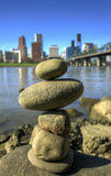 Balancing Rocks against City Skyline. Of Portland Oregon Royalty Free Stock Image