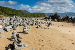 Balancing Rocks on a Beach. In Cairns Queensland Australia on a sunny bright day royalty free stock images