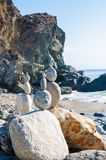 Balancing rocks on a beach off the Pacific highway in California.  royalty free stock images