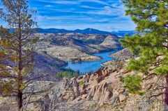 The balancing rocks formation is in Central Oregon. Balancing Rocks were revealed in Central Oregon after a wild fire. This landscape is vast and open clear to royalty free stock image