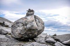 Balancing rocks. Rocks balancing on mountain in New Hampshire Stock Images