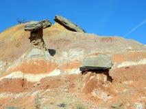 Balancing rocks paloduro canyon hoodoos. Rocks balanced on sedimentary pillars eroded away by time and water palo duro canyon texas royalty free stock image