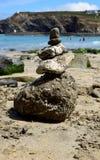Balancing rocks at Portreath, Cornwall, England. Balancing rocks on the beach at Portreath, Cornwall, England stock image