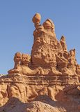 Balancing Rocks on a Siltstone Pinnacle. In Goblin Valley State Park in Utah royalty free stock images