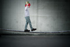 Balancing on the rope Royalty Free Stock Photos