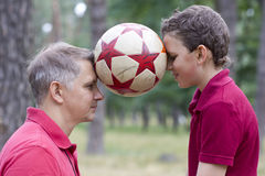 Balancing soccer ball Royalty Free Stock Images
