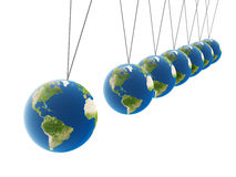 Balancing spheres. Hanging earth globes, 3d generated image Stock Photography