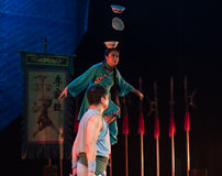 Balancing a stack of bowls on the head-Acrobatic showBaixi Dream Night Stock Photography