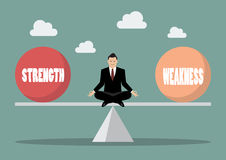 Balancing between strength and weakness. Vector illustration Royalty Free Stock Image