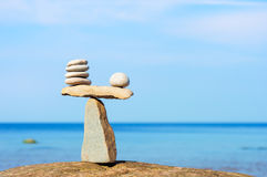 Balancing of white stones Stock Photography