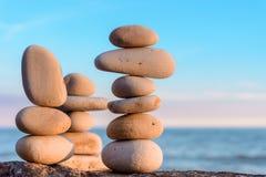 Balancing of white stones Royalty Free Stock Photo