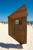 Balancing Wooden Sculpture: Cottesloe Beach Stock Image