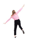 Balancing young business woman. Stock Image