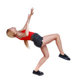 Balancing young woman. or dodge falling woman. Rear view people collection. Royalty Free Stock Image