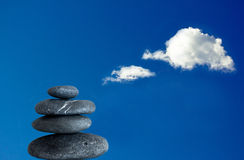 Balancing zen stones and blue sky Royalty Free Stock Images