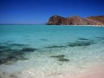 Balandra Bay. View of turquoise waters and rugged coastline of Balandra Bay in Baja California stock image