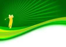 Balanço do jogador de golfe no verde Imagens de Stock