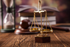 Balans of justice. Mallet, legal code and scales of justice. Law concept, studio shots Royalty Free Stock Images