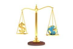 Balansera begreppet, världen och pengar på vågen framförande 3d royaltyfri illustrationer