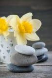 Balansera kiselstenstenar och gulingblommor Royaltyfri Bild