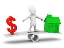 balanserar den lilla mannen 3d kostnaden av ett hus stock illustrationer