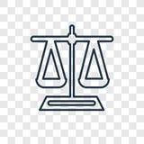Balansowego pojęcia wektorowa liniowa ikona odizolowywająca na przejrzystym backg royalty ilustracja