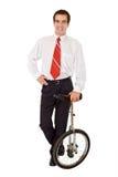 balansowy biznesowego mężczyzna monocykl Zdjęcia Royalty Free