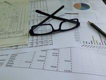 balansowy biznesowy kalkulator sporządzać mapę biurek szkła Zdjęcie Royalty Free