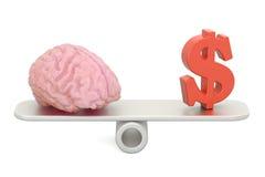 Balansowy pojęcie, pieniądze i intelekt, świadczenia 3 d royalty ilustracja
