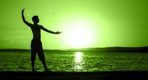 Balansowy pojęcie sztandar w zieleni zdjęcie royalty free