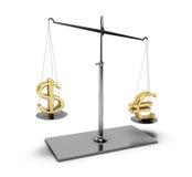 Balanza con euro y el dólar Fotos de archivo libres de regalías