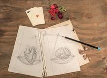 Balanza: corazón o cerebro Imagen de archivo