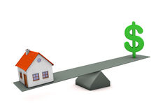 Balanza de dólar de la casa Foto de archivo libre de regalías