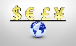 Balanza de la economía global del mundo ilustración del vector