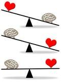 Balanza de la mente del corazón Fotografía de archivo libre de regalías