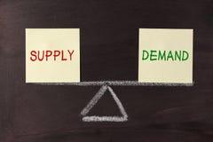 Balanza de la oferta y de la demanda Imagen de archivo libre de regalías