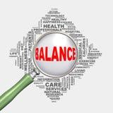 balanza del concepto de la atención sanitaria del wordcloud de la lupa 3d Fotografía de archivo