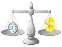Balanza del dinero del reloj Imágenes de archivo libres de regalías