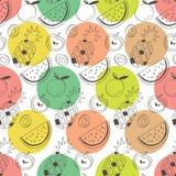 Balas coloridas com abacaxi, melancia, maçã, quivi, e laranja ilustração stock