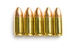 balas da pistola de 9mm Fotografia de Stock