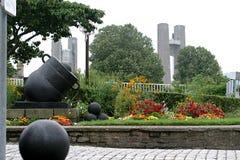 Balas de canhão e um canhão na cidade de Bresta Fotografia de Stock