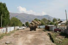 Balas de heno del carro que llevan en Kirguizistán Imágenes de archivo libres de regalías