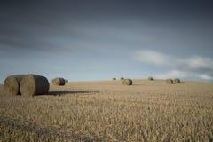 Balas de heno en un campo Fotos de archivo