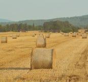 Balas de heno en un campo en un día soleado brillante Imagen de archivo libre de regalías