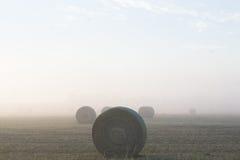 Balas de heno en un campo de niebla Imagen de archivo libre de regalías